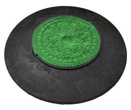 Конус колодца полимерпесчаный с зеленым люком диаметр: 1090/570 мм 3т