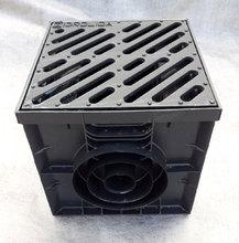 Дождеприемник пластиковый укомплектованный (2 сифон-перегородки + корзина для сбора мусора) с решеткой чугунной щелевой тип 1