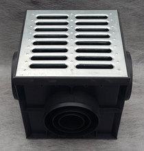Дождеприемник пластиковый укомплектованный (2 сифон-перегородки + корзина для сбора мусора) с решеткой оцинкованной стальной штампованной