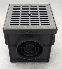 Дождеприемник пластиковый укомплектованный (2 сифон-перегородки + корзина для сбора мусора) с решеткой пластиковой 20х20х20 см