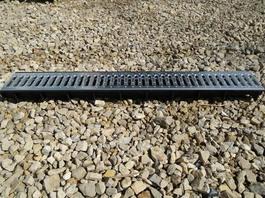 Водоотводный лоток пластиковый дренажный с решеткой штампованной оцинкованной (1000x145x60)