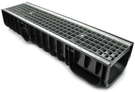 Водоотводный лоток пластиковый дренажный с решеткой ячеистой сталь оцинкованная (1000x246x185)