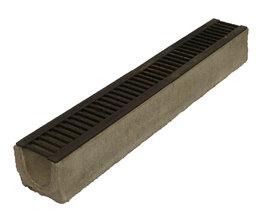 Водоотводный лоток бетонный Standart с решеткой чугунной (1000x140x125)