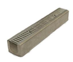 Водоотводный лоток бетонный Standart с решеткой штампованной оцинкованной (1000x165x145)