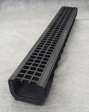 Водоотводный лоток пластиковый дренажный с решеткой пластиковой ячеистой (1000x145x100)