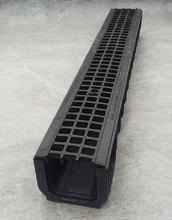 Водоотводный лоток пластиковый дренажный с решеткой пластиковой ячеистой (1000x145x120)