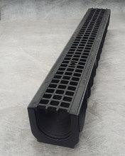 Водоотводный лоток пластиковый дренажный с решеткой пластиковой ячеистой (1000x145x135)