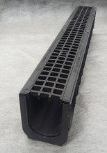 Водоотводный лоток пластиковый дренажный с решеткой пластиковой ячеистой (1000x145x185)