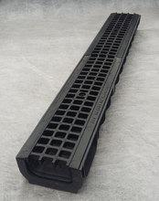 Водоотводный лоток пластиковый дренажный с решеткой пластиковой ячеистой (1000x145x80)